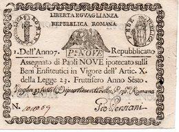 ITALIA-VATICANO-REPUBBLICA ROMANA-ASSEGNATO DI 9 PAOLI-1798-  P-S539  UNC - Vaticano (Ciudad Del)