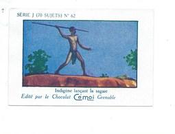 Chromo AFRIQUE AOF Lancement De La Sagaie Pub Au Dos: Cémoi SÉRIE J RARE Colonies Françaises - Chocolat