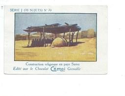 Chromo AFRIQUE AOF Burkina Construction Religieuse SAMO  Pub Au Dos: Cémoi SÉRIE J RARE Colonies Françaises - Chocolat