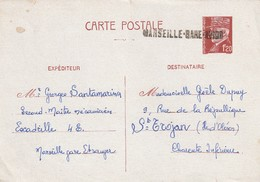 """Griffe Linéaire """" Marseille-Gare-Avion"""" Pour Annulation (en Départ) D'un Entier Pétain. (rare Et Superbe Combinaison) - Marcophilie (Lettres)"""