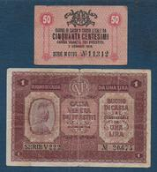 ITALIE  - 2  Billets De 1918 - [ 5] Trésor