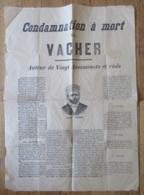 Rare Document Historique - Affiche De La Condamnation à Mort De Joseph VACHER - Tueur En Série - Vers 1898 - Documents Historiques
