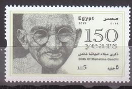 Stamps EGYPT 2019 MAHATMA GANDHI INDIA BIRTH 150 ANNIV, 2ND GLOSSY PRINTING MNH - Mahatma Gandhi