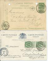 Twee Kaarten Met OC 56 - Afstempeling BRUXELLES/DEPART En ANVERS(GARE CENTRALE)/DEPART - 1893-1907 Coat Of Arms