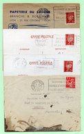 4 OBLITERATIONS FLAMMES : Période 1941/42 - GRENOBLE + RENNES + LYON - - Marcophilie (Lettres)