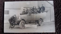 CPA PHOTO SUPERBE VOITURE AUTO ANIMEE MILITAIRES GRADES ETAT MAJOR 6 EME REGION GUERRE 14 ? - Guerra 1914-18