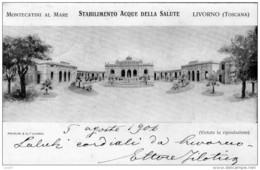 Cartolina Postale Montecatini A Mare Viaggiata 1907 Stablimento Acque Della Salute Come Da Foto - Livorno