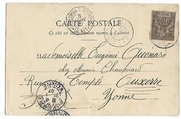 D'ZAOUDZI MAYOTTE CAD Sur 10c Colonie (Mayotte) + Poste Maritime LA REUNION à MARSEILLE LV N°1 Pour AUXERRE   ...G - Mayotte (1892-2011)