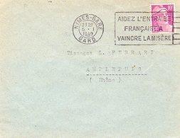 Gandon Lettre à 10 F Du 5/1/1949 Dernier Jour Du Tarif - Marcophilie (Lettres)