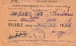 POLIGNY (Jura) - Carte D'abonnement à La Poste Restante, Délivrée Par Le Bureau De Poligny Le 10-12-1942. - Poligny