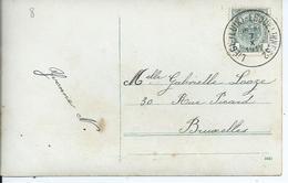 Fantasiekaart Met OCB 81 - Afstempeling LIEGE(LUIK)-ERQUELINNES 2 - COBA 12 - 1893-1907 Coat Of Arms