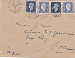 DULAC 40c X 2 Et 60c X 2  Sur Lettre De 1945 Pour Saint-Brieuc - Marcophilie (Lettres)