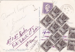DULAC 1f Lilas Sur Carte Postale Taxée De 10 X Taxe Gerbe 10c Pour Poste Restante - 1921-1960: Periodo Moderno