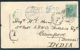 "1904 Yorkshire Regiment War Memorial,York Postcard - Sgt Horne,Green Howards,Cawnpore India.""Overland Postage Due"" Taxe - 1902-1951 (Re)"