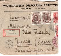 Polen - Poland - Polska - Warschau - Varsovie - Russia - Zurich - 21.V.15 - Krieg War - 1915 - Recomandée - Registered - Postwaardestukken
