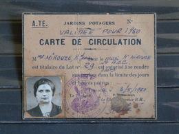 Militaria - A. TE. Atelier De Fabrication De Toulouse (munitions? - Carte De Circulation Jardins Potagers - 1950 - Documents