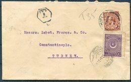 1925 GB Thomas Crabtree,Mohair Merchant,Bradford, Shipley Cover - Lebet Freres, Constantinople Turkey. Postage Due, Taxe - 1902-1951 (Re)