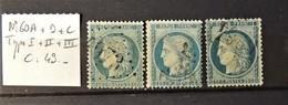 02 - 20 // France N° 60A  + 60B + 60C - Les 3 Types - Tous TB - Cote : 49 Euros - 1871-1875 Ceres