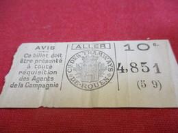 Ticket De TRAMWAY Ancien Usagé/ Cie Des Tramways De ROUEN/ 10 C / ALLER/Vers 1920-1940                            TCK112 - Tram
