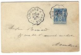 FRANCE 1881: Lettre LSC De Limours Pour Amiens Avec Le Y&T 90, Ambulant De Ligne 'Limours à Paris' - 1876-1898 Sage (Type II)