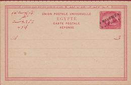 EGYPTE Egypt Entier Postal Carte Réponse Surchargé 4 Millièmes Sur 5. Neuf - Postwaardestuk Stationary Card - 1866-1914 Khedivato Di Egitto