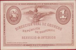 Guatemala Ferrocarril Norte Direccion Gral De Corréos Entier Postal Steam Train A Vapeur Stoomtrein Postwaardestuk - Guatemala