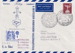 Germany 1961 Air Mail Cover: Transport; Ballons; Baloon Heissluftballon Triberg; Europa Kinderhilfe Label; D-Bernina - Transports
