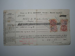 1935 BELFORT REÇU E. MISSEREY Notaire Timbre Fiscal 3 Francs Timbre Fiscal 1,50 Francs (abîmée) - 1900 – 1949