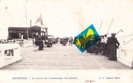 OSTENDE - Au Bout De L'Estacade, La Pêche - Carte Très Animée Et Circulé En 1904 - Oostende
