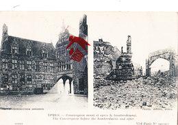 YPRES - Conciergerie Avant Et Après Le Bombardement - Carte Circulé En 1919 - Ieper