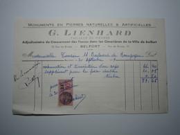 1937 BELFORT G. LIENHARD TAILLEUR DE PIERRES Creusement Des Fosses Dans Les Cimetières Timbre Fiscal DA 50 Centimes - 1900 – 1949