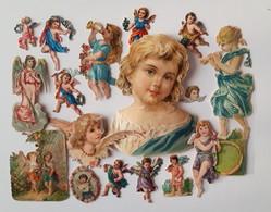 Bon Lot De 16 Chromos Découpis Thème: Anges, Chérubins, Putto. Gaufrés - Angels