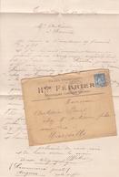 FRANCE LETTRE DE 1898 TIMBRES 15 CENTIMES PAIX ET COMMERCE TYPE SAGE  / N° 101  / TAMPON A DATE CAMARET VAUCLUSE - Marcophilie (Lettres)