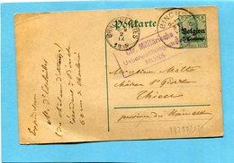 Carte Entier Postal 5c Germania-surchargé Belgien-CAD 1915- BINCHE+  Cachet Ctr MILITARISCHE +MONS - WW I