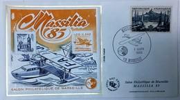ENVELOPPE FDC AVEC BLOC CNEP MASSILIA 1/03/1985 TIMBRE MARSEILLE 8F - 1980-1989