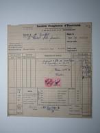 1947 Mr GUILLET LE THILLOT (VOSGES) FÊTE FORAINE - SOCIÉTÉ VOSGIENNE D'électricité REMIREMONT Timbre Fiscal 3 Francs - 1900 – 1949