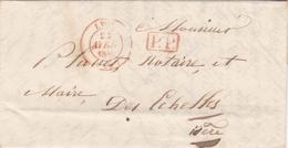 FRANCE 1847 LETTRE TAMPON A DATE LYON  ET TAMPON ROUGE PP - Storia Postale