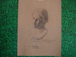 Konigl. Technische Hochschule Munchen Vorprufung 1906 Paul Dfauer Professor, Fritz Huber, Fusain Buste De Femme (20-390) - Pastel