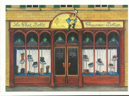 CPM BO 6 Peintre Naif LE CHAT BOTTE Chausseur Bottier Boutique Par Béatrice Douillet Ed Avion Postal - Peintures & Tableaux