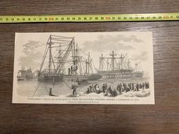 1860 ILL GRAVURE EMBARQUEMENT A TOULON LE WESER DES CANONNIERES EXPEDITION DE LA CHINE - Collections
