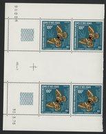 AFARS Et ISSAS COTE 42 € N°421 MNH**  BLOCS DE 4 DU 100 Fr AVEC COINS DATES SERIE PAPILLONS. TB - Afars & Issas (1967-1977)