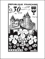 0069/ France Grève De Saumur 1953 Maquette D'artist (original Artist Work) Chateau Castle 17cm - Strike Stamps