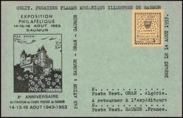 0065/ France Grève De Saumur 1953 Carte Lettre (cover Card) Carte Jaune - Strike Stamps