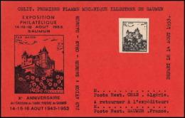 0053/ France Grève De Saumur 1953 Carte Lettre (cover Card) Essai (proof) Non Dentelé (imperforate) Sur Carte Rouge - Strike Stamps