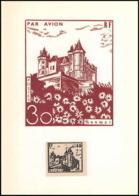 0046/ France Grève De Saumur 1953 Carte Lettre (cover Card) Carte Castle + Essai (proof) Non Dentelé (imperforate) - Strike Stamps