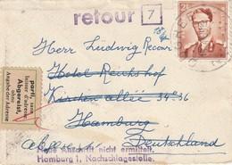 """COB N° 1028 Sur Lettre CDV De Ougrée Vers Hambourg (Allemagne) / Retour + """" Parti Sans Laisser D'adresse"""" - 1953-1972 Bril"""