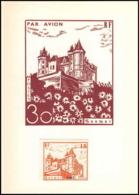 0045/ France Grève De Saumur 1953 Carte Lettre (cover Card) Carte Chateau Castle + Essai (proof) Non Dentelé - Strike Stamps