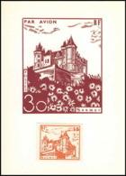 0044/ France Grève De Saumur 1953 Carte Lettre (cover Card) Carte Chateau Castle + Essai (proof) Non Dentelé - Strike Stamps