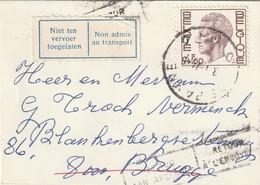 """COB N° 1644 Sur  Lettre CDV De DE PANNE Vers BRUGGE / Retour Envoyeur + """" Non Admis Au Transport"""" - 1970-1980 Elström"""