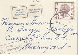 """COB N° 1644 Sur  Lettre CDV De DE PANNE Vers NIEUPORT / Retour Envoyeur + """" Non Admis Au Transport"""" - 1970-1980 Elström"""